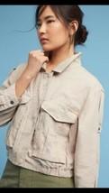 Anthropologie Hei Hei Women's Jacket Taupe Camo Crop Linen Size XSP NWT  - $64.34