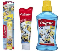 Colgate Kids Minions Power Toothbrush + Colgate Minions Mild Bubble Fruit Too... - $28.61