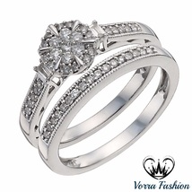 White Gold Plated 925 Silver Round Cut Sim Diamond Bridal Ring Set For Women's - $86.99