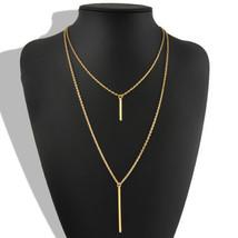 USA Womens Bohemian Gold Plated Long Sweater Chain Vertical Bar Pendant ... - $12.86