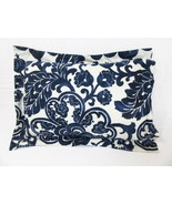 Tommy Bahama Floral Navy Egyptian Cotton 12 x 16 Boudoir Pillow, Made in... - $34.00