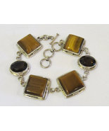 Beautiful sterling silver 925 Tiger's Eye & Smokey Quartz Bracelet 9.5''... - $125.00