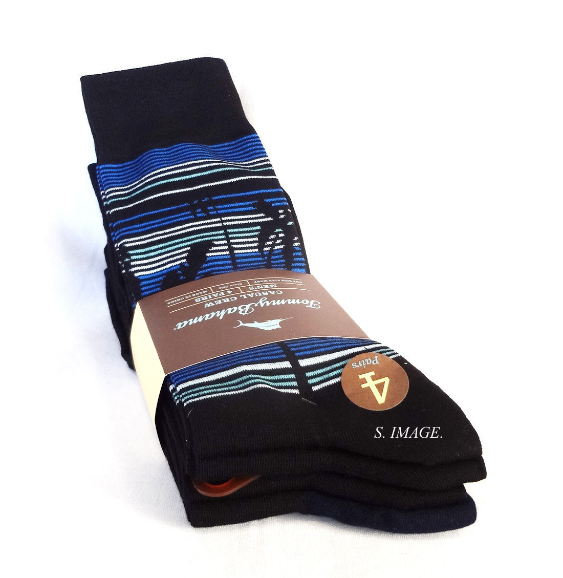 TOMMY BAHAMA Men's CASUAL CREW Socks 4 Pairs Black OSFM - New!