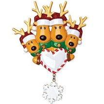 New Reindeer Moose Family of 4 Personalized Christmas Tree Ornament 2016 - $9.83