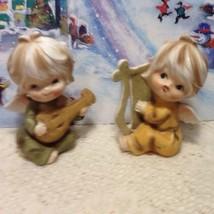 Pair Of Vintage  Musical Angel Musical  Figurines With Harp & Mandolin - $24.95
