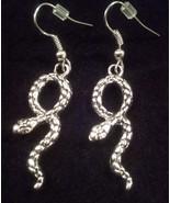 Silvertoned Snake Dangle Earrings - $6.99