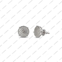 14k White Gold Plated .925 Silver Real Diamond Stud Earrings For women's - £86.52 GBP