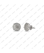 14k White Gold Plated 925 Sterling Solid Silver Diamond Stud Earrings Fo... - £70.31 GBP