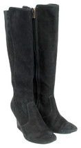 Tory Burch Hendin Suede Wedge Boot Size 9 Black Pre Owned - $197.99
