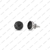 Stunning Women's White Gold Finish 925 Silver Black Diamond Stud Earrings - £72.33 GBP