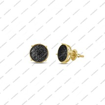 14K Yellow Gold Plated 925 Silver Black Diamond Circle Stud Earrings [Je... - £87.10 GBP