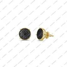 14K Gold Over Sterling Silver Black Diamond Round Shape Women's Stud Earring - £65.69 GBP