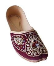 Women Shoes Indian Handmade Leather Maroon Oxfords Flat Mojari US 9.5-11 - £24.26 GBP