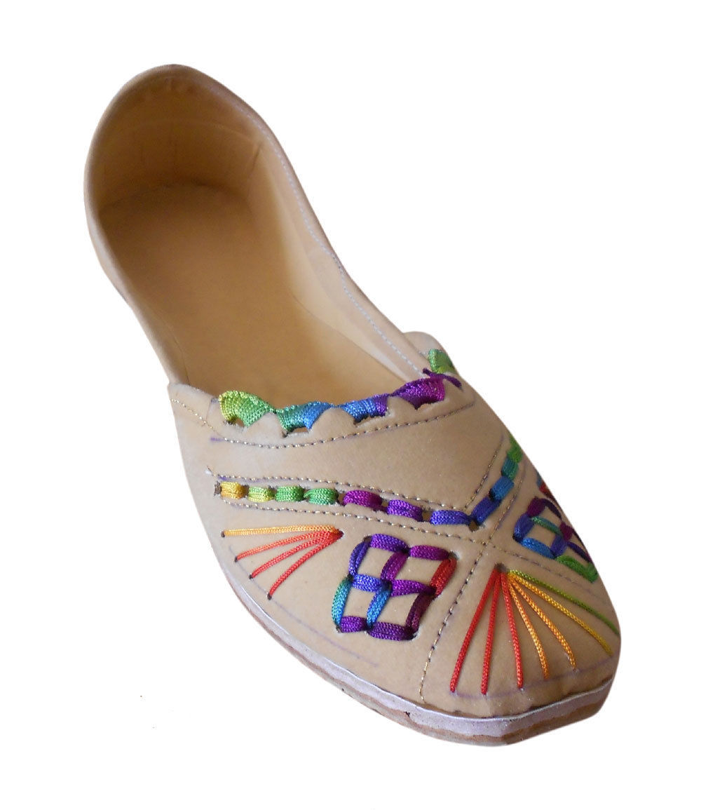 Primary image for Women Shoes Indian Handmade Ballet Flats Leather Camel Mojari US 9.5-12