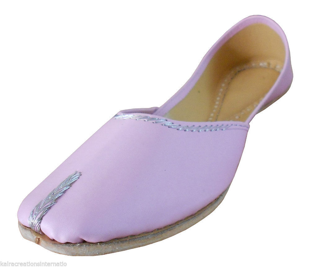 Primary image for Women Shoes Indian Handmade Pink Leather Ballet Flats Traditional Mojari US 6