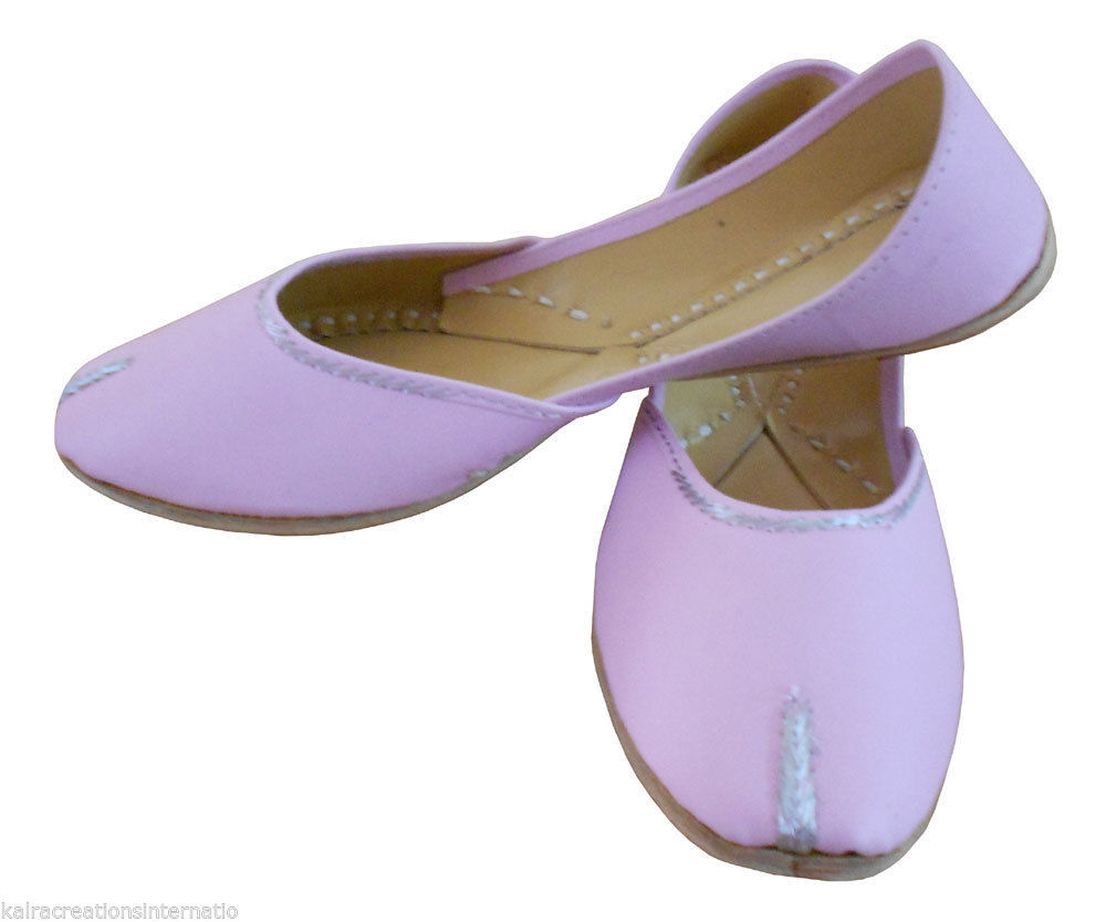 Primary image for Women Shoes Indian Handmade Leather Traditional Ballet Flats Jutties Pink US 9