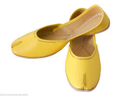 Women Shoes Traditional Indian Handmade Leather Yellow Flip-Flops Mojari... - £19.27 GBP