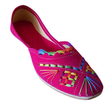 Women Shoes Indian Handmade Jutties Designer Leather Pink Ballet Flats U... - $29.99