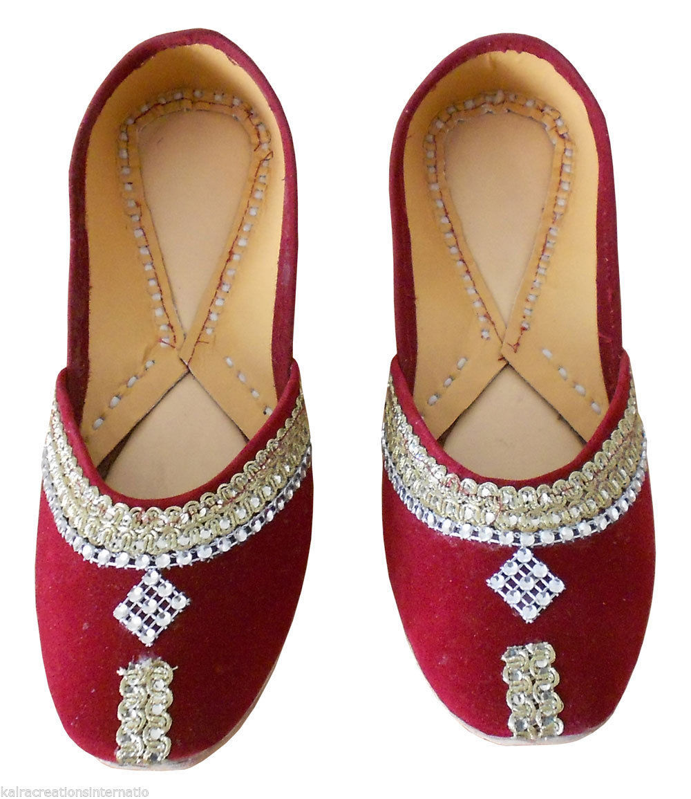 Primary image for Women Shoes Traditional Indian Handmade Maroon Leather Ballet Flats Mojari US 4