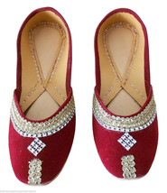 Women Shoes Traditional Indian Handmade Maroon Leather Ballet Flats Mojari US 4 - $24.99