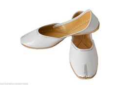 Women Shoes Indian Handmade Leather White Flip-Flops Mojaries Flat US 9.5 - $27.99
