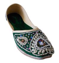 Women Shoes Indian Handmade Oxfords Designer Leather Wedding Green Mojari US 6-9 - £24.26 GBP
