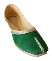 Women Shoes Indian Handmade Casual Leather Ballet Flats Green Mojari US ... - $24.99