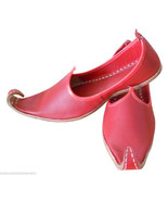 Men Shoes Indian Handmade Leather Espadrilles Red Khussa Jutties US 8.5-12 - $39.99