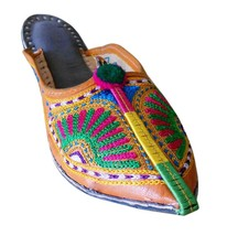 US 6 DESIGNER WOMEN SLIPPERS SHOES BOHO OPEN MOJARI INDIAN HANDMADE LEATHER - $44.99