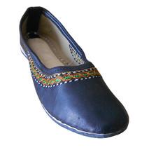 Women Shoes Indian Handmade Ethnic Leather Ballerinas Black Mojari US 8 - £24.51 GBP