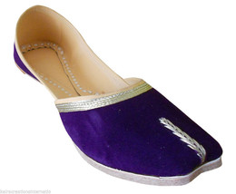 Women Shoes Indian Handmade Leather Ballet Flats Purple Ethnic Mojari Fl... - $27.99