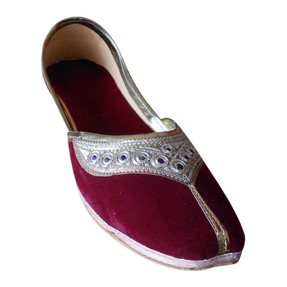 Primary image for Women Shoes Indian Handmade Maroon Leather Ballet Flats Mojaries US 9.5-12
