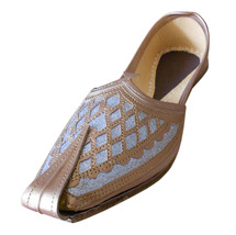 Men Shoes Indian Handmade Groom Leather Loafers Camel Flat Mojaries US 8 - $39.99