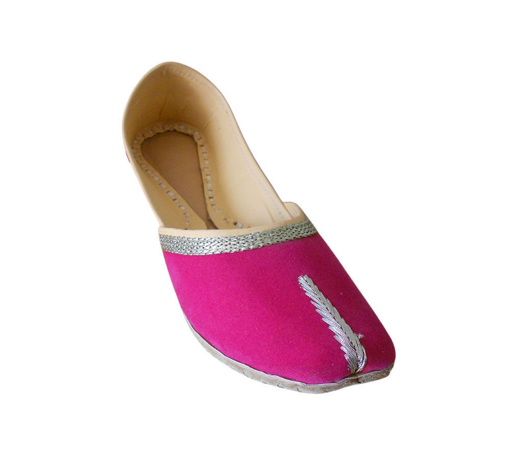 Primary image for Women Shoes Indian Handmade Velvet Leather Ballet Flats Pink Mojari US 6-12