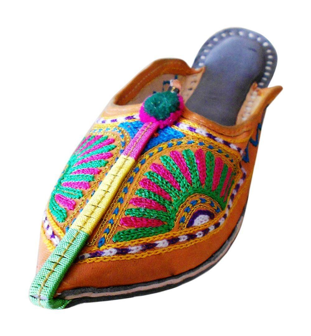 US 6 DESIGNER WOMEN SLIPPERS SHOES BOHO OPEN MOJARI INDIAN HANDMADE LEATHER