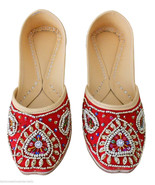 Women Shoes Indian Traditional Handmade Leather Oxfords Red Mojari US 6-12 - £22.64 GBP