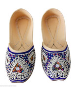 Women Shoes Indian Handmade Traditional Blue Leather Oxfords Mojaries US... - $29.99