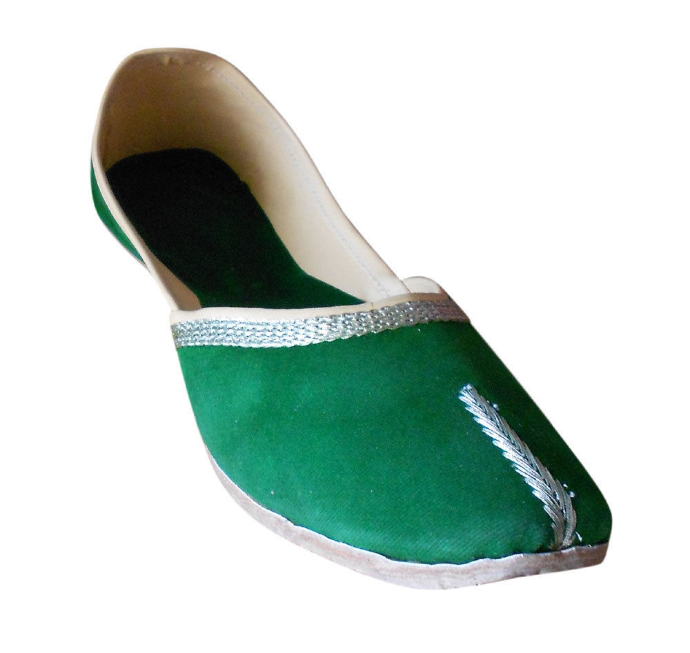 Primary image for Women Shoes Indian Handmade Traditional Ballet Flats Green Jutties US 9.5-12