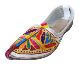 Women Shoes Indian Handmade Traditional Leather Mojari Pointy Flats White US 6 - $34.99
