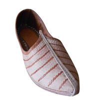 Men Shoes Indian Handmade Cream Traditional Leather Espadrilles Mojari Flat US 9 - $39.99