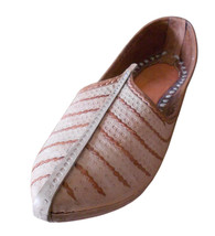 Men Shoes Indian Handmade Cream Leather Jodhpuri Espadrilles Flat Mojari US 10 - $39.99