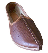 Men Shoes Indian Handmade Designer Mojari Leather Espadrilles Brown Jutties US 9 - $39.99