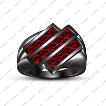 14k Black Gold Fn 925 Silver Round Cut Red Garnet Men's Special Band Ring 8 9 10 - $106.99