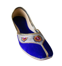 Women Shoes Indian Handmade Leather Ballet Flats Blue Mojaries Flat US 6-12 - $29.99