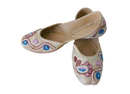 Women Shoes Indian Handmade Gold Leather Traditional Flip-Flops Jutties ... - £23.13 GBP