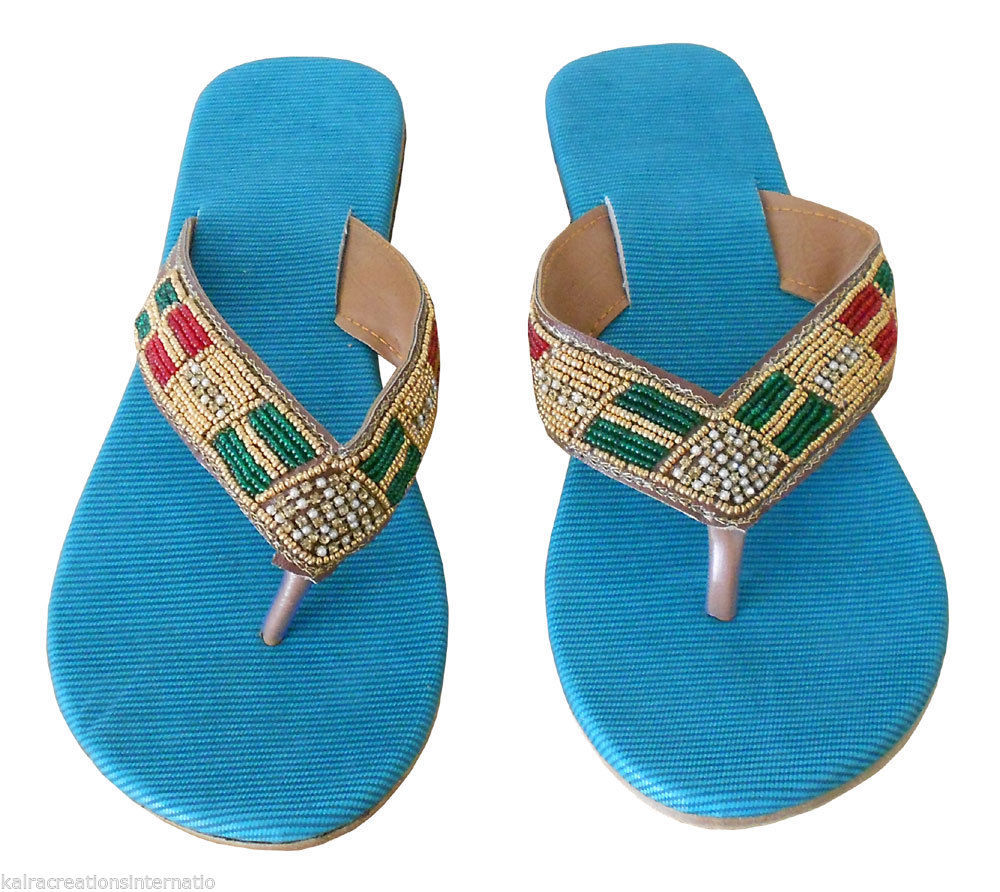 Primary image for Women Slippers Indian Handmade Traditional Flip-Flops Flat Slip On US 5-8.5