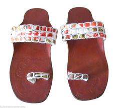 Women Slippers Indian Handmade Traditional Flip-Flops Brown Slip On US 5-10  - $29.99