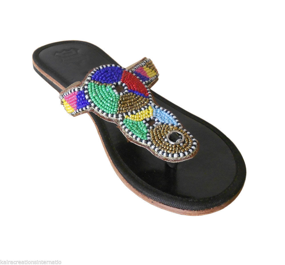 Primary image for Women Slippers Ethnic Leather Flipflops Indian Handmade Black Flat US 6-10