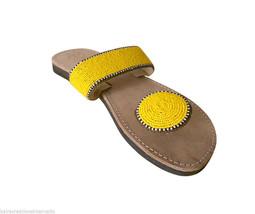 Women Slippers Indian Handmade Casual Brown Leather Flip-Flops Slip On US 6 - $29.99