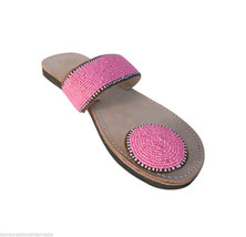 US 6-10 ETHNIC SLIPPERS BEADED WOMEN SHOES LEAT... - $29.99